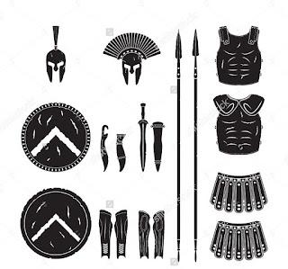 www.fertilmente.com.br - Na imagem o kit padrão de um soldado espartano