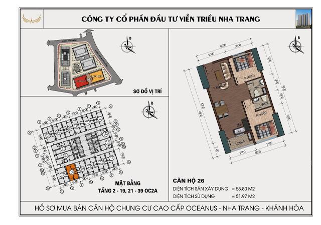 Sơ đồ căn hộ số 26 tòa OC2A Viễn Triều Nha Trang