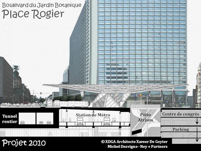 Place Rogier - Boulevard du Jardin Botanique - Auvent - Patio-Atrium - Station de Métro - Centre de Congrès - Parking - Tunnel routier - Bruxelles-Bruxellons