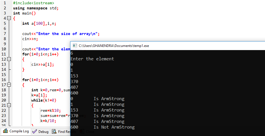 C++ Program To Check Array Is Armstrong Or Not