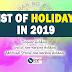 LIST OF HOLIDAYS IN 2019