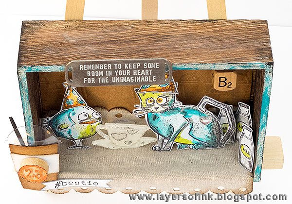 Layers of ink - Crazy Friends Shadowbox Tutorial by Anna-Karin, with products by Tim Holtz, Sizzix and Ranger, such as Bird Crazy and Crazy Cats.
