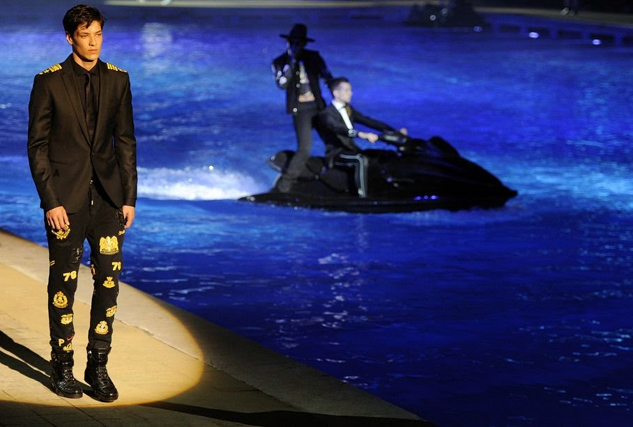 A model wears a creation for Philipp Plein men's Spring-Summer 2015 collection, part of the Milan Fashion Week, unveiled in Milan, Italy, Saturday, June 21, 2014.