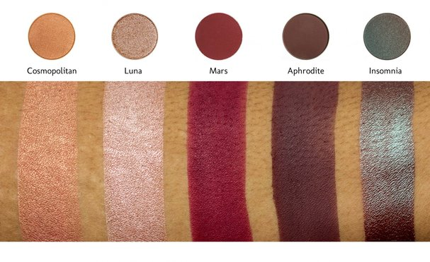 Makeup Geek x MannyMUA palette swatches