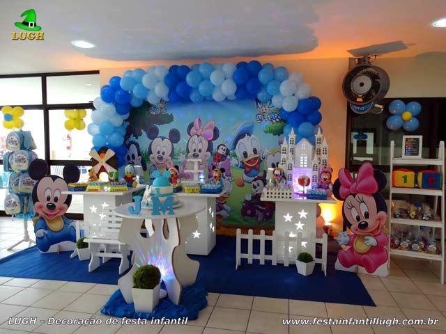 Decoração Baby Disney em mesa provençal para festa de aniversário infantil de 1 ano - Festa na Barra RJ