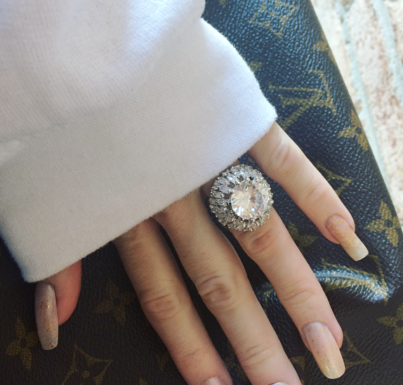 12 TCW Round and Baguette Cut CZ Dome Ring Platinum