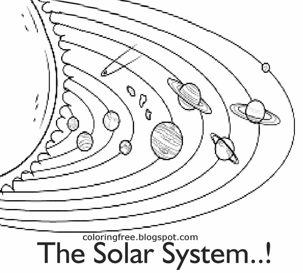 Coloring pictures planets solar system - Kids Basic Space Educational Drawing Solar System Printable Planet Layout And Sun Coloring Book Page