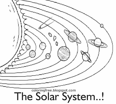 Kids basic space educational drawing solar system printable planet layout and sun coloring book page