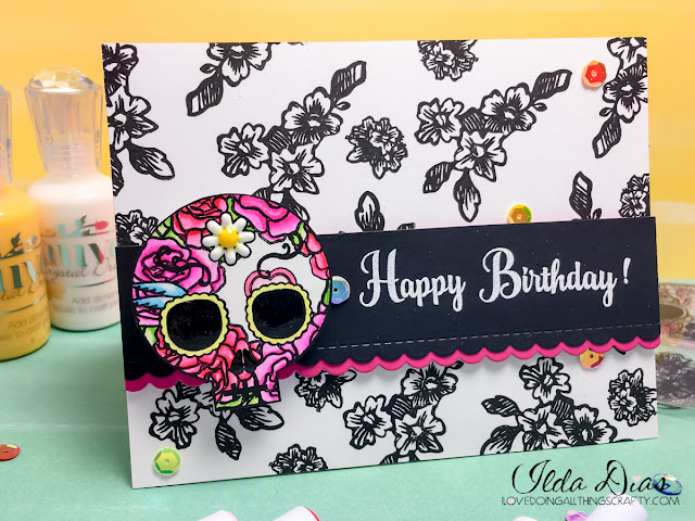 I Love Doing All Things Crafty Dia Dos Muertos Sugar Skull Action Wobble Card