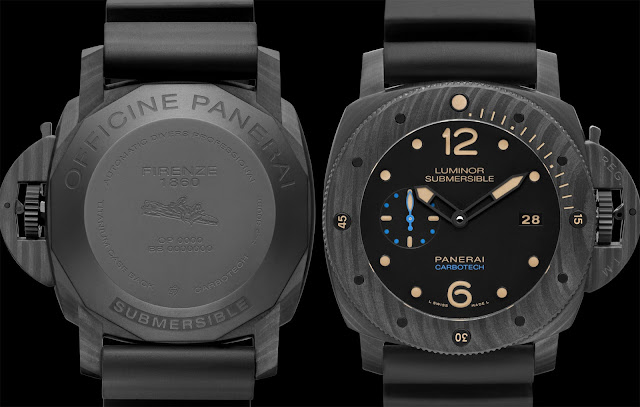 Grey watch backside, engraved torpedo, Panerai Carbotech watch