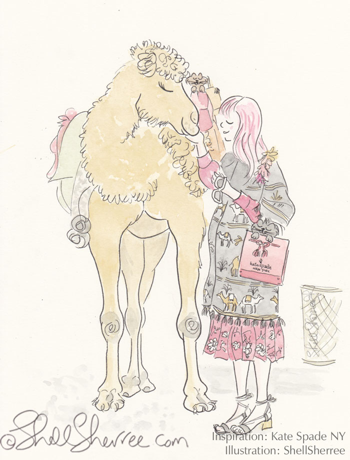 Fashion and Fluffballs illustration : Of Camels, Kitties and Kate Spade New York © Shell-Sherree