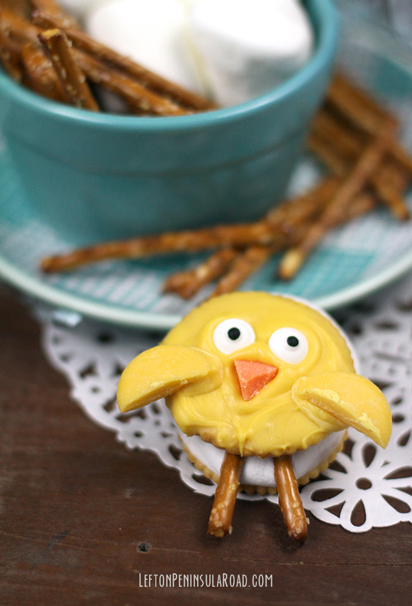 Yellow Candy-coated  Spring Chick S'mores Treat