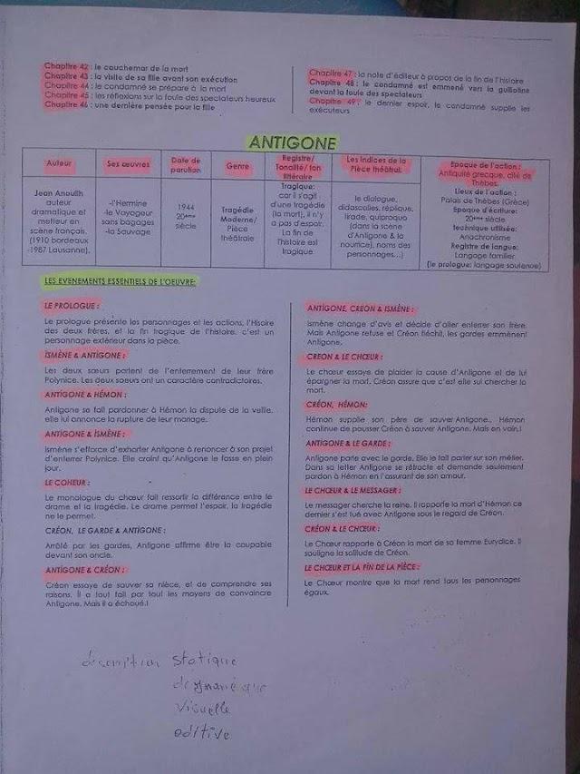 ملخص روايات اللغة الفرنسية للأولى بكالوريا في ثلاث صفحات
