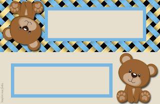 Osito con Fondo de Lazos: Etiqueta para Candy Bar para Descargar Gratis.