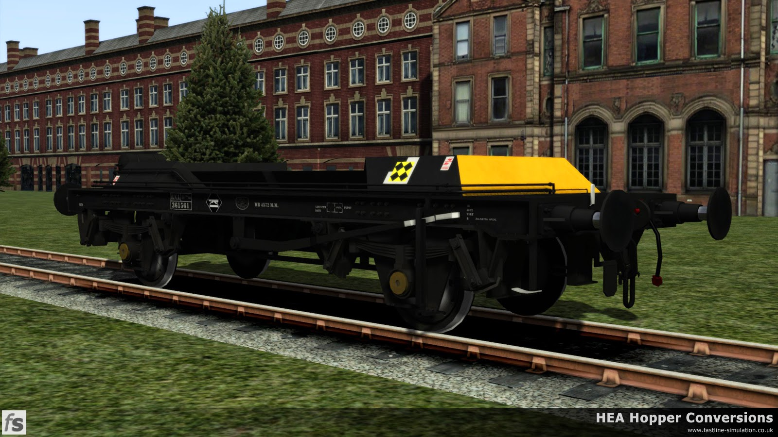 Fastline Simulation - HEA Conversions: RNA barrier wagon with the hopper body removed in Railfreight Coal livery. The pipe runs above the underframe meant that a standard TOPS data panel would be obstructed and some creativity had to take place when adding it to the underframe.