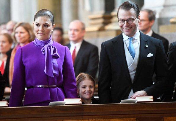Queen Silvia, Princess Victoria, Princess Estelle, Prince Carl Philip, Princess Sofia, Chris O'Neill at Te Daum for Princess Adrienne Josephine Alice