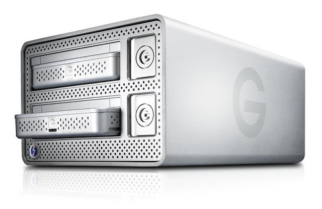 The G-Tech G-Dock Thunderbolt RAID Two Bay Drive System