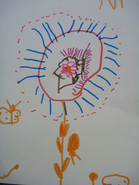 Kinder zeichnen Blumen