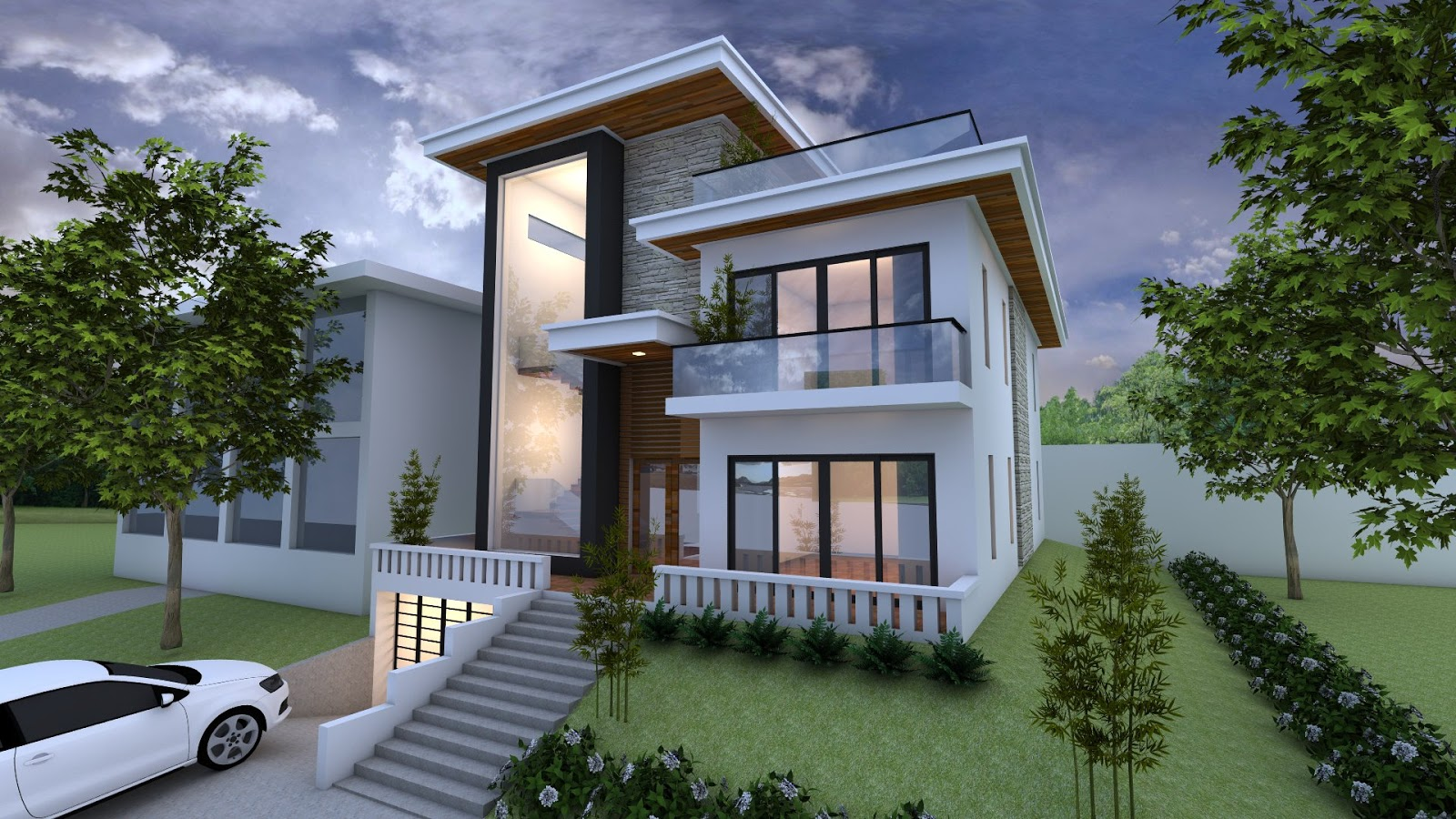 Sketchup exterior villa design drawing from elevation 3 for Exterieur villa design