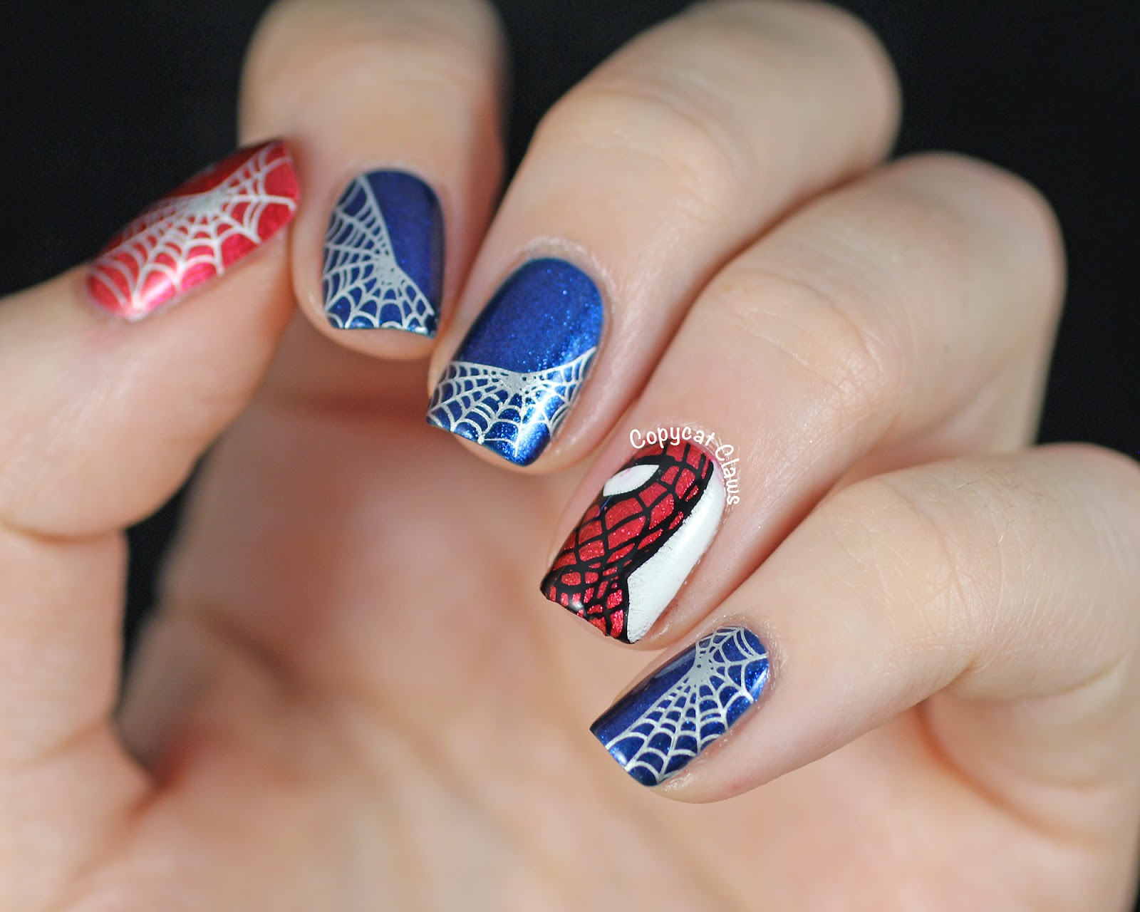 Copycat claws spider man nail stamping i love sparkly red polish so much that i couldnt go without painting a full nail with spidey sense so thats what i did on my thumb prinsesfo Choice Image