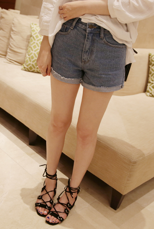 Mid-Rise Folded Cuff Shorts