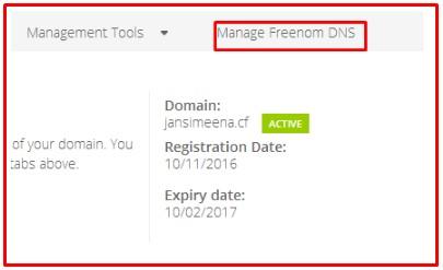 manage freenom dns server