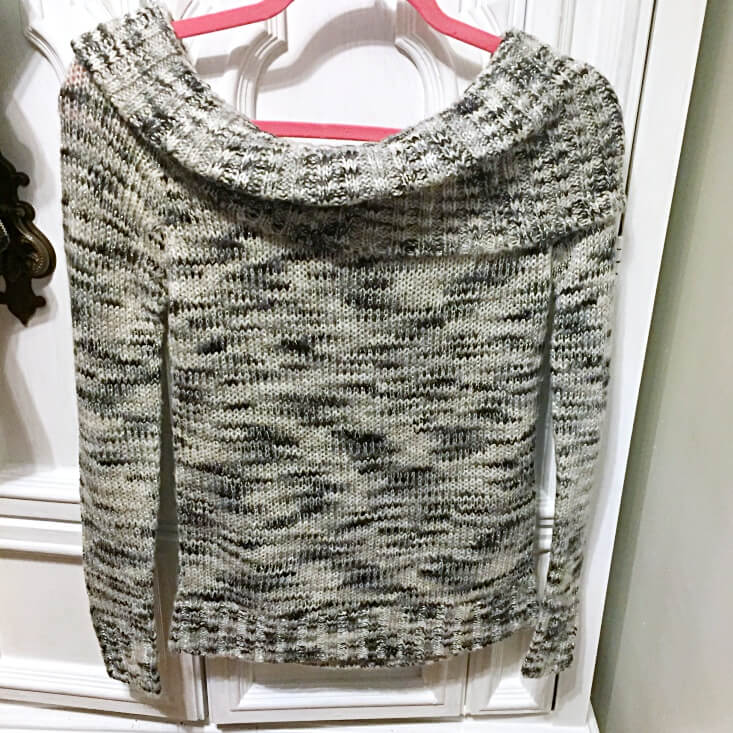 No Boundaries Space Dyed Metallic Knit Marilyn Off the Shoulder Tunic Sweater