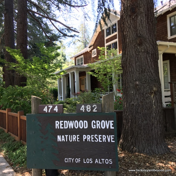 entrance to Redwood Grove Nature Preserve in Los Altos, California