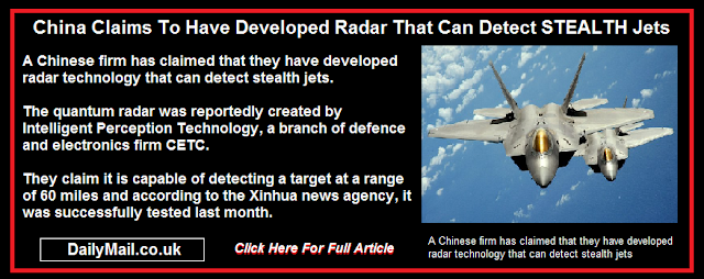 China Claims To Have Developed Radar That Can Detect STEALTH Jets