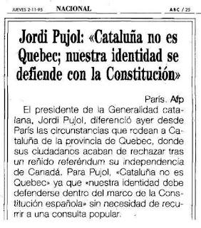 Jordi Pujol, Quebec, Catalunya