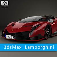 3dsMax高精度Lamborghini汽车3D模型下載