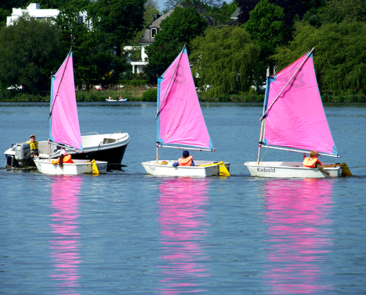 Sailing on Lake Alster in the Hanseatic City of Hamburg in Germany