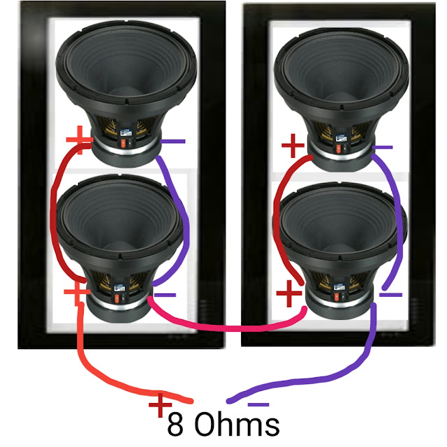 How to connect 4 speaker to 8 ohms amplifiers,4 SPEAKER KO 8 OHMS AMPLIFIER ME KAISE JODE,