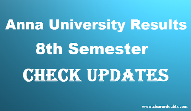 Anna University 8th Semester results 2017 date