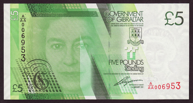 Gibraltar Banknotes 5 Pounds banknote 2011 Queen Elizabeth II