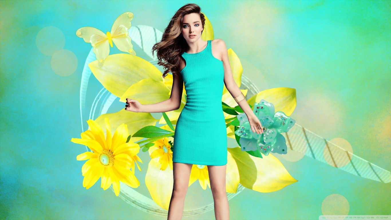 Miranda Kerr Green Dress Hot Wallpaper