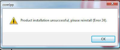 Product Installation Unsuccessful Please Reinstall Error 24