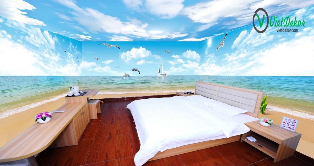 Tranh trần 3d phong cảnh bãi biển cá heo thuận buồm xuôi gió