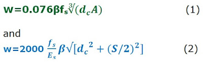 Equations to determine crack width