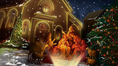 Kerststal met lichtjes en versierde boom