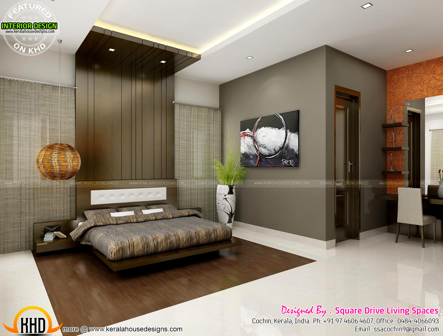 Green Kitchen Bedroom Living Inteiors Kerala Home