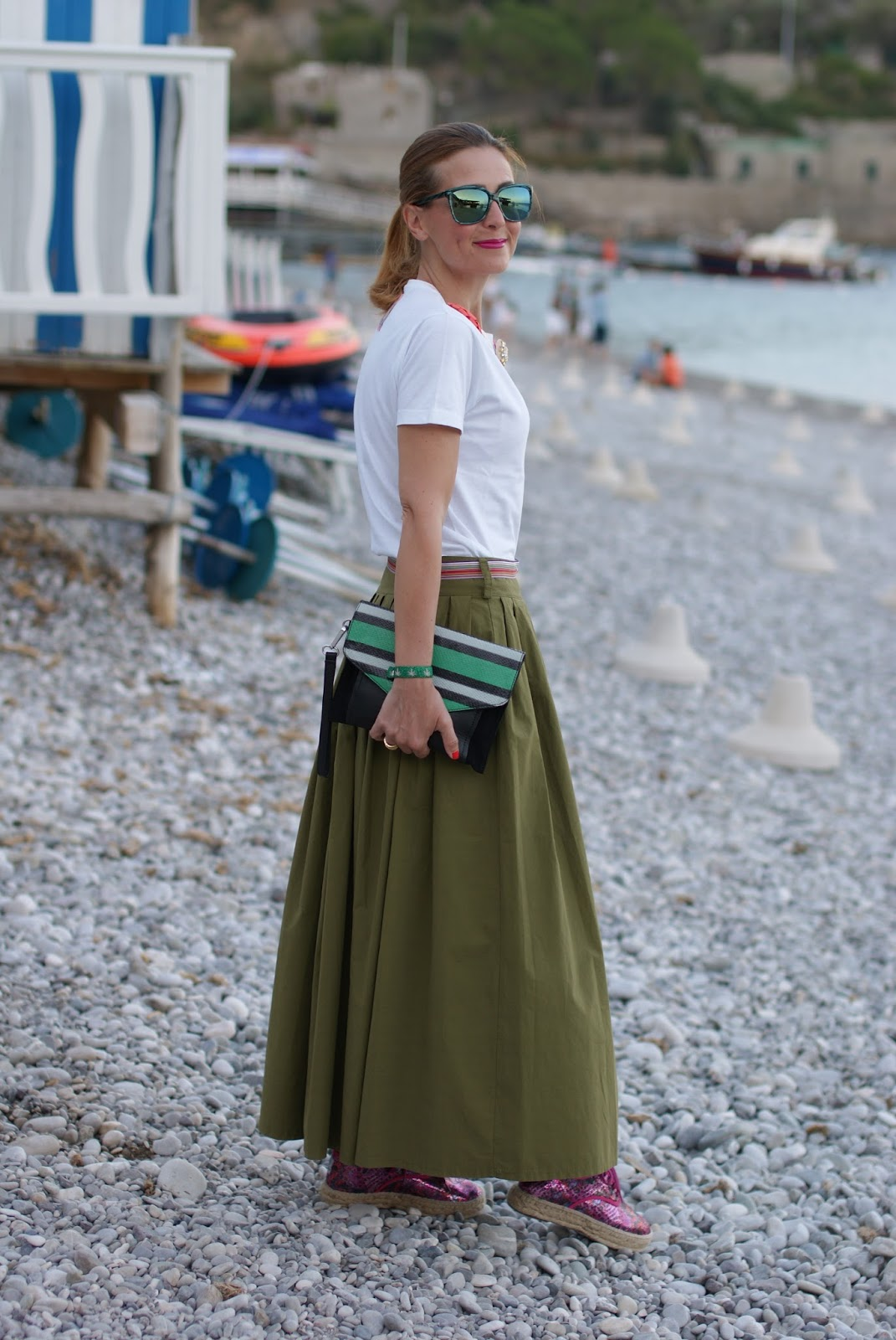 Chic summer look with Natural World Eco lace up espadrilles and green maxi skirt on Fashion and Cookies fashion blog, fashion blogger style