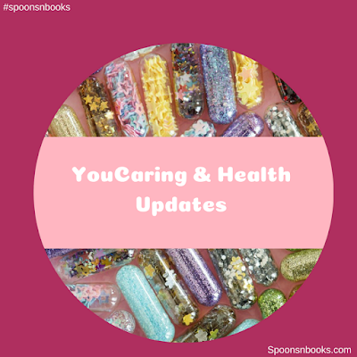 Image contains colorful pills and the words: You caring and health updates, #spoonsnbooks and spoonsnbooks.com on a dark pink background