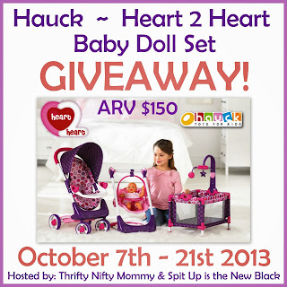 Enter the Hauck Heart 2 Heart Baby Doll Set Giveaway. Ends Oct 21st.