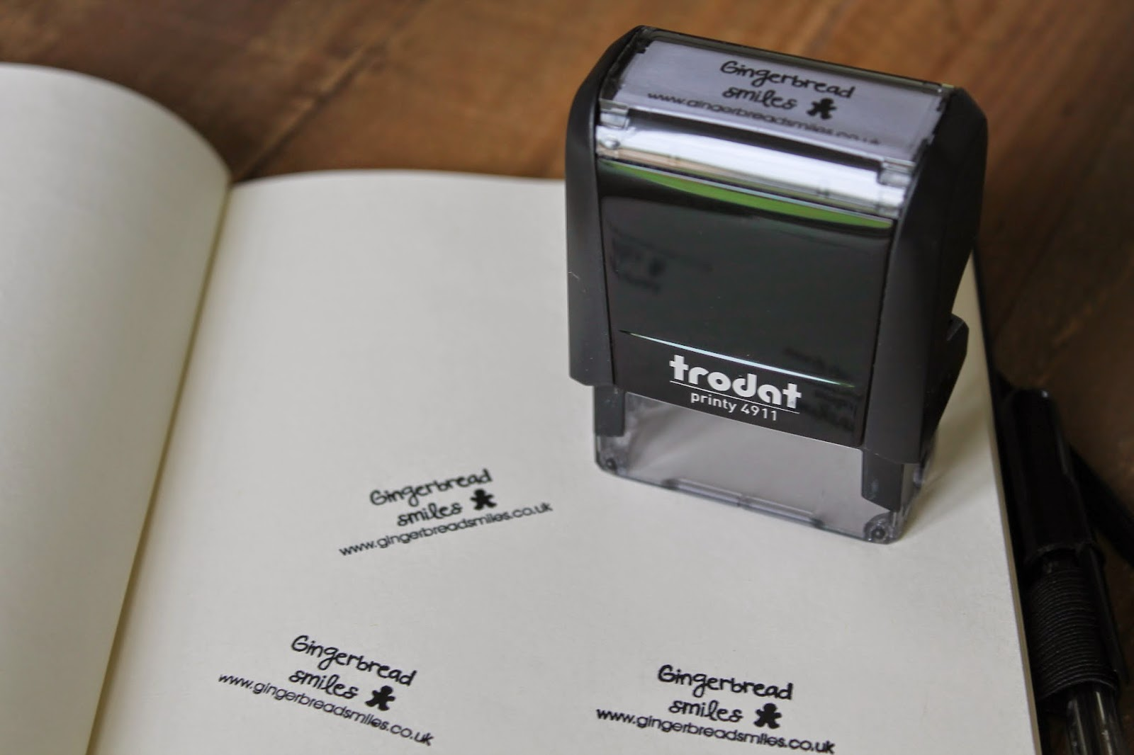 Viking Direct Stationery Review - Trodat personalised stamp - Gingerbread Smiles logo