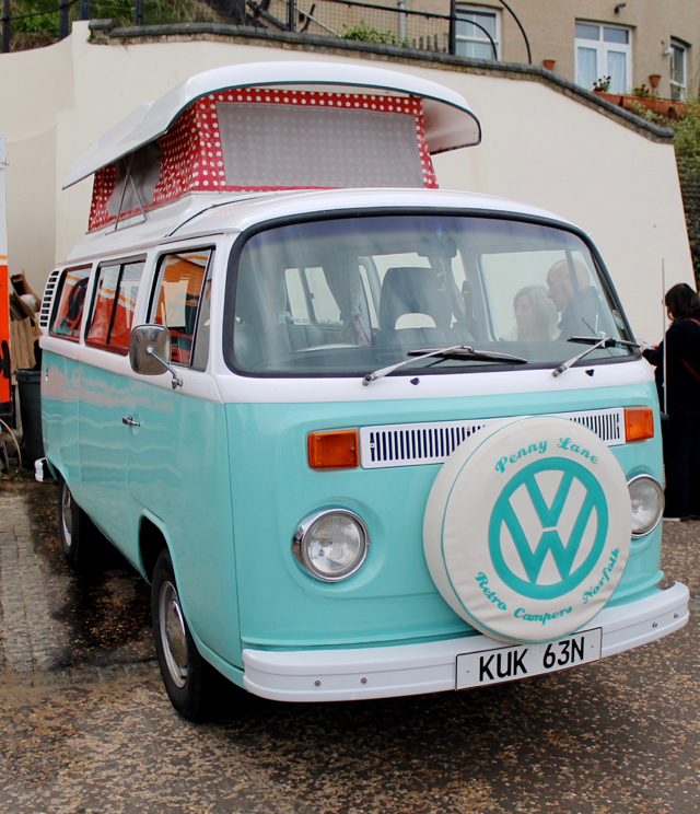 VW retro camper at Cromer 60s festival