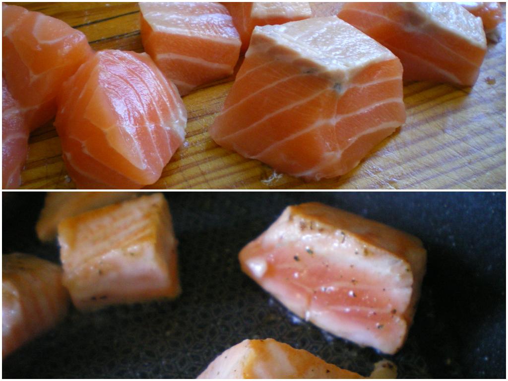 Tacos de salmón al ajillo