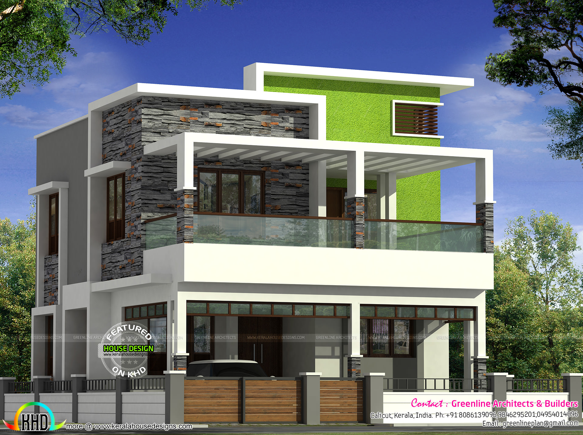 40x60 kerala contemporary home design kerala home design for Modern kerala style house plans with photos