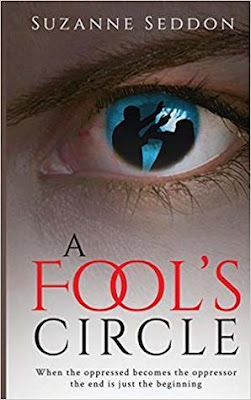 A Fools Circle book cover. It is an eye that contains shadows of a man attacking a woman.