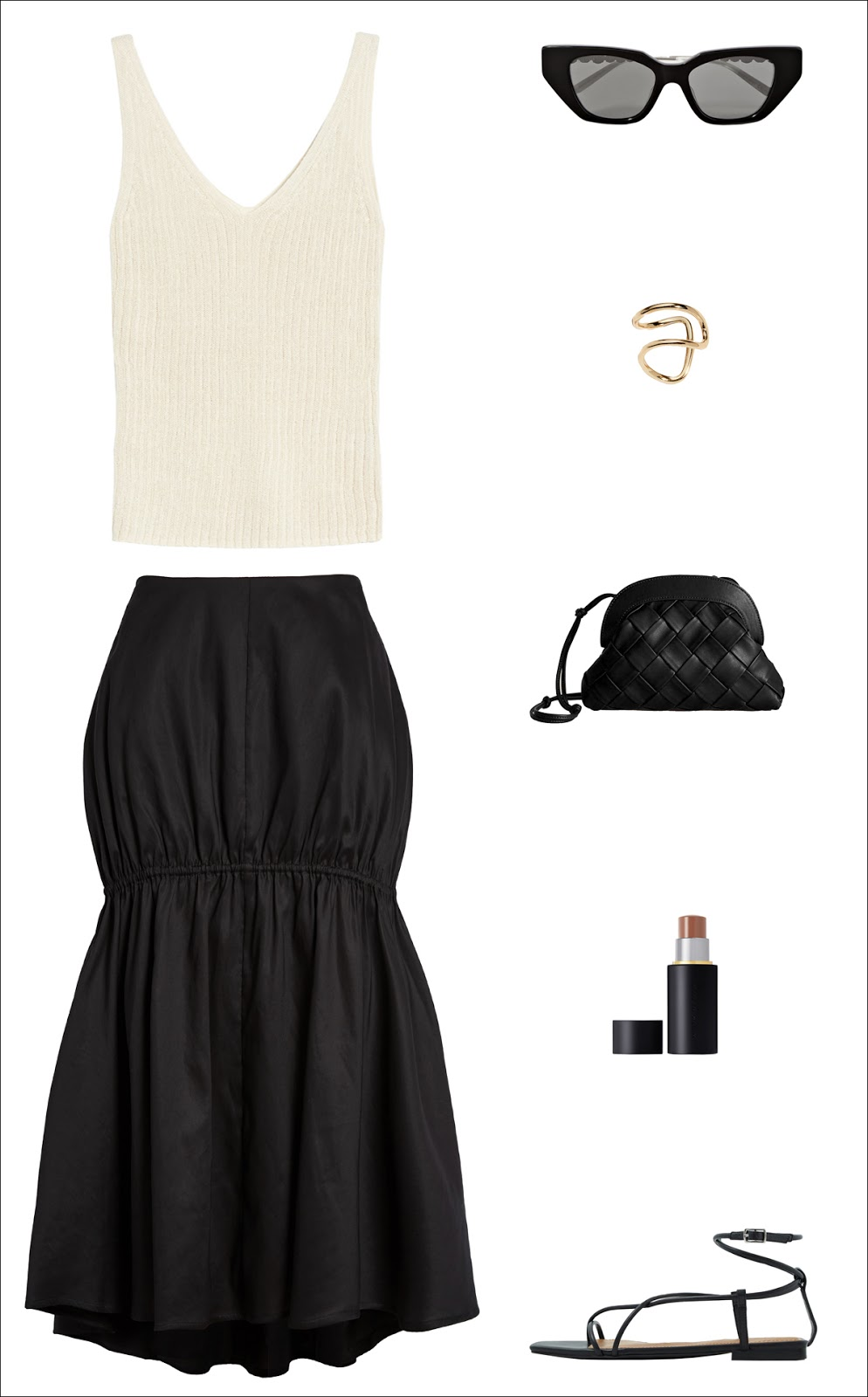 Minimalist Date / Night Out Outfit Idea for Spring and Summer — Beige Tank Top, Cat-Eye Sunglasses, Gold Earring, Toteme Midi Skirt, Woven Braided Bag, Contour Stick, and Black Strappy Flat Sandals